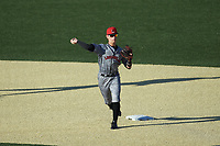 Louisville Cardinals second baseman Tim Borden II (10) makes a throw to first base against the Wake Forest Demon Deacons at David F. Couch Ballpark on March 7, 2020 in  Winston-Salem, North Carolina. The Demon Deacons defeated the Cardinals 3-2. (Brian Westerholt/Four Seam Images)