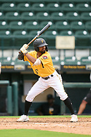 FCL Pirates Gold Jasiah Dixon (6) bats during a game against the FCL Rays on July 26, 2021 at LECOM Park in Bradenton, Florida. (Mike Janes/Four Seam Images)