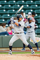 Jack Lopez (11) of the Wilmington Blue Rocks at bat against the Winston-Salem Dash at BB&T Ballpark on April 20, 2013 in Winston-Salem, North Carolina.  The Dash defeated the Blue Rocks 4-2 in game one of a double-header.  (Brian Westerholt/Four Seam Images)
