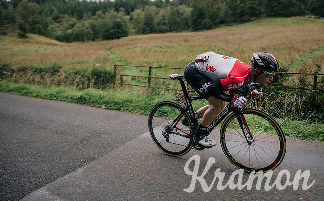 Moreno Hofland (NED/Lotto-Soudal) 'dropping' back into the peloton<br /> <br /> Racing in/around Lake District National Parc / Cumbria<br /> <br /> Stage 6: Barrow-in-Furness to Whinlatter Pass   (168km)<br /> 15th Ovo Energy Tour of Britain 2018