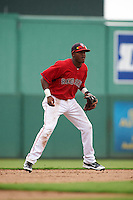 GCL Red Sox shortstop Luis Alejandro Basabe (18) during a game against the GCL Rays on August 3, 2015 at the JetBlue Park at Fenway South in Fort Myers, Florida.  The game was suspended after two innings due to the inclement weather.  (Mike Janes/Four Seam Images)