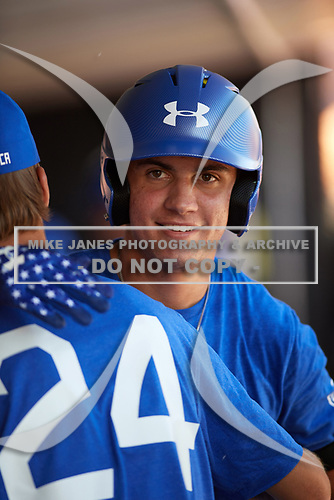 Jordan Groshans (15) of Magnolia High School in Magnolia, Texas during the Under Armour All-American Game practice presented by Baseball Factory on July 28, 2017 at Rocky Miller Park in Evanston, Illinois.  (Mike Janes/Four Seam Images)