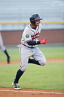 Kevin Maitan (26) of the Danville Braves hustles down the first base line against the Burlington Royals at Burlington Athletic Stadium on August 15, 2017 in Burlington, North Carolina.  The Royals defeated the Braves 6-2.  (Brian Westerholt/Four Seam Images)