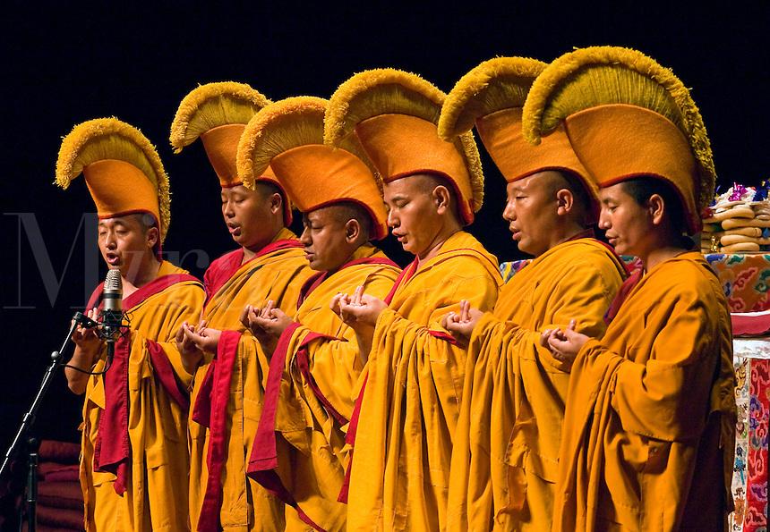 CHANTING GYUTO MONKS during TIBET NIGHT at a DALAI LAMA teaching in October 2007 sponsored by KUMBUM CHAMTSE LING & the TIBETAN CULTURAL CENTER - BLOOMINGTON, INDIANA