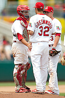 Nick Greenwood (32) of the Springfield Cardinals talks with Nick Derba (16) on the mound during a game against the Tulsa Drillers at Hammons Field on June 27, 2011 in Springfield, Missouri. (David Welker / Four Seam Images)