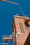 Masonry work on church steeple