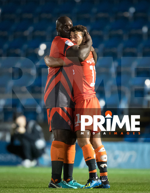 Adebayo Akinfenwa congratulates Scott Kashket of Wycombe Wanderers on his goal during the Carabao Cup 2nd round match between Wycombe Wanderers and Forest Green Rovers at Adams Park, High Wycombe, England on 28 August 2018. Photo by Andy Rowland.