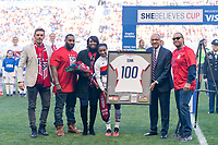 HARRISON, NJ - MARCH 08: Crystal Dunn #19 of the United States stands on the field with her family during a game between Spain and USWNT at Red Bull Arena on March 08, 2020 in Harrison, New Jersey.