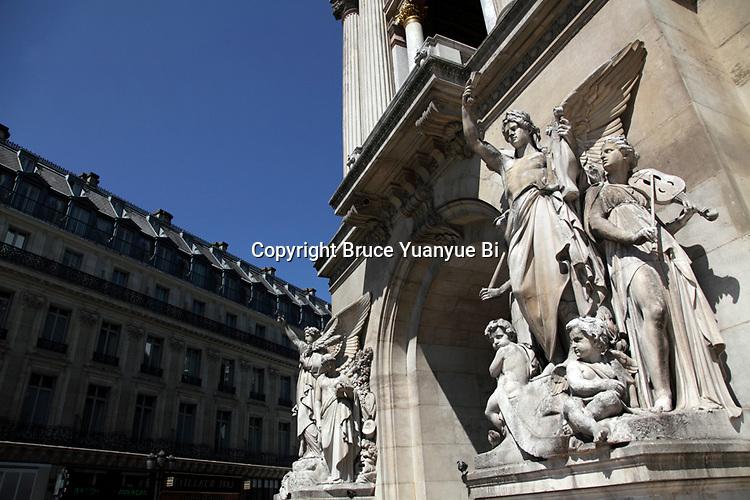Statues decorated entrance of Opera Garnier. Palais Garnier. City of Paris. Paris