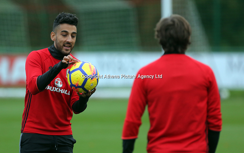 (L-R) Neil Taylor and Joe ALlen in action during the Wales Training Session at The Vale Resort, Wales, UK. 06 November 2017