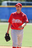Philadelphia Phillies minor league first baseman Joe Savery vs. the Toronto Blue Jays in an Instructional League game at Englebert Minor League Complex in Dunedin, Florida;  October 7, 2010.  Savery - a 2007 1st round draft pick from Rice University - may swith from the mound, where he was an All-Star in the Eastern League during the 2009 season, to first base.  Photo By Mike Janes/Four Seam Images