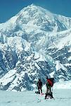 Alaska, Denali, Climbers returning from Denali, (Mount McKinley), across the Don Sheldon Amphitheater, Denali National Park, Alaska,