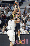 Real Madrid's Gustavo Ayon (l) and Fenerbahce Istambul's   Bogdan Bogdanovic during Euroleague Quarter-Finals 3rd match. April 19,2016. (ALTERPHOTOS/Acero)