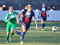 20131211 - HENIN-BEAUMONT , France : PSG's Kheira Hamraoui pictured sprinting in front of Henin's Gwenaelle Devleesschauwer (left) during the female soccer match between FC Henin Beaumont and Paris Saint-Germain Feminin , of the Ninth matchday in the French First Female Division . Wednesday 11 December 2013. PHOTO DAVID CATRY