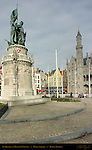 Jan Breydel and Pieter de Coninck, Heroes of the Battle of the Golden Spurs, Neogothic Ministry of Public Works, Market Square, Bruges, Brugge, Belgium
