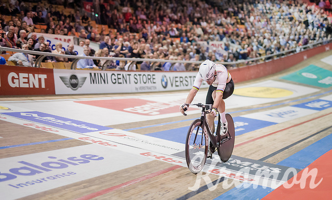 Mark Cavendish (GBR/Dimension Data) crossing the finish line after his 'fastest lap'<br /> <br /> 2016 Gent 6<br /> day 1