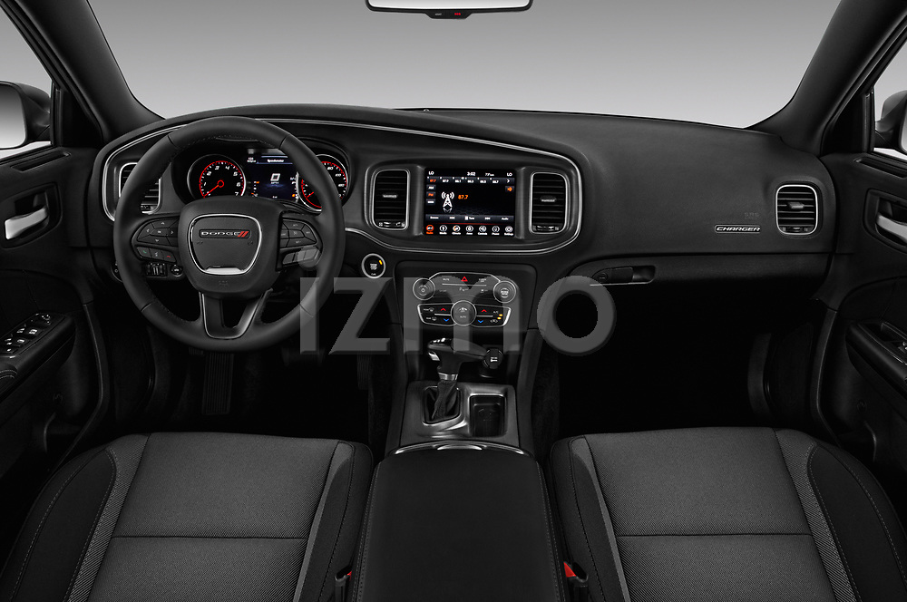 Stock photo of straight dashboard view of a 2017 Dodge Charger R/T 4 Door Sedan
