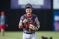 Elizabethton Twins catcher Rainis Silva (11) prior to the game against the Danville Braves at American Legion Post 325 Field on July 1, 2017 in Danville, Virginia.  The Twins defeated the Braves 7-4.  (Brian Westerholt/Four Seam Images)