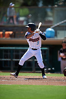 Inland Empire 66ers shortstop Leonardo Rivas (3) during a California League game against the Modesto Nuts on April 10, 2019 at San Manuel Stadium in San Bernardino, California. Inland Empire defeated Modesto 5-4 in 13 innings. (Zachary Lucy/Four Seam Images)