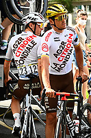 July 12th 2021, Andorre-la-Vielle, France; VAN AVERMAET Greg (BEL) of AG2R CITROEN TEAM Belgian coloured bike for the Olympics during rest day 2 of the 108th edition of the 2021 Tour de France cycling race on July 12