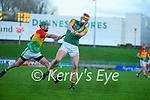 Michael  O Leary, Kerry in action against David English, Carlow during the Joe McDonagh hurling cup fourth round match between Kerry and Carlow at Austin Stack Park on Saturday.