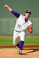 Winston-Salem Dash starting pitcher Chris Beck (33) in action against the Frederick Keys at BB&T Ballpark on May 28, 2013 in Winston-Salem, North Carolina.  The Dash defeated the Keys 17-5 in the first game of a double-header.  (Brian Westerholt/Four Seam Images)