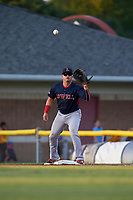 Lowell Spinners first baseman Raiwinson Lameda (28) waits for a throw during a game against the Batavia Muckdogs on July 11, 2017 at Dwyer Stadium in Batavia, New York.  Lowell defeated Batavia 5-2.  (Mike Janes/Four Seam Images)
