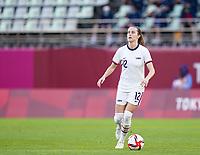 KASHIMA, JAPAN - JULY 27: Tierna Davidson #12 of the United States controls the ball during a game between Australia and USWNT at Ibaraki Kashima Stadium on July 27, 2021 in Kashima, Japan.