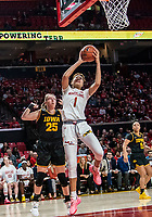 COLLEGE PARK, MD - FEBRUARY 13: Shakira Austin #1 of Maryland picks off  rebound in front of Monika Czinano #25 during a game between Iowa and Maryland at Xfinity Center on February 13, 2020 in College Park, Maryland.