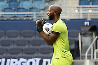 KANSAS CITY, KS - JULY 15: Brian Sylvestre #1 of Haiti with the ball during a game between Canada and Haiti at Children's Mercy Park on July 15, 2021 in Kansas City, Kansas.