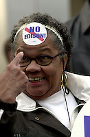 Philadelpia School district bus driver, Marjorie Johnson shows off her feelings during a rally about the City of Philadlephia's effort to have the Edison Company run the city school systems Wednesday, Nov. 28, 2001in Philadelphia. (New York Times/Bradley C. Bower)