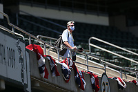 OAKLAND, CA - JULY 26:  Oakland Athletics Executive Vice President Billy Beane watches the game against the Los Angeles Angels while wearing a mask from the stands at the Oakland Coliseum on Sunday, July 26, 2020 in Oakland, California. The 2020 season had been postponed since March due to the COVID-19 pandemic. (Photo by Brad Mangin)