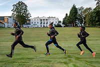 (From left to right) Shura Kitata (ETH) leads Sandrafelis Chebet Tuei (KEN) Pacemaker and Valary Jemeli (KEN) as they train together within the grounds of the official hotel [location not disclosed] and biosecure bubble ahead of the historic elite-only 2020 Virgin Money London Marathon on Sunday 4 October. The 40th Race will take place on a closed-loop circuit around St James's Park in central London. Wednesday 30th September 2020. Photo: Bob Martin for London Marathon Events<br /> <br /> For further information: media@londonmarathonevents.co.uk