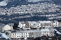 "Pictured: Snow covered houses in St Thomas (TOP) and Mount Pleasant (FRONT) caused by the ""Beast from the East"" in Swansea, south Wales, UK. Wednesday 28 February 2018<br /> Re: Strong cold winds from the east have been affecting most parts of the UK with temperatures in some parts below zero."