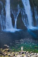 Fly fisherman at Burney Falls. McArthur-Burney Falls Memorial State Park, California