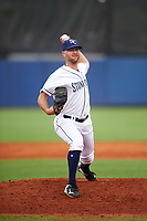 Charlotte Stone Crabs relief pitcher Jonny Venters (27) delivers a pitch during the first game of a doubleheader against the Tampa Yankees on July 18, 2017 at Charlotte Sports Park in Port Charlotte, Florida.  Charlotte defeated Tampa 7-0 in a game that was originally started on June 29th but called to inclement weather.  (Mike Janes/Four Seam Images)