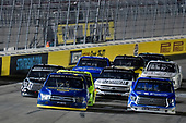 #38: Todd Gilliland, Front Row Motorsports, Ford F-150 Black's Tire and #16: Austin Hill, Hattori Racing Enterprises, Toyota Tundra United Rentals
