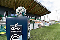 matchball on the Scooore Superleague standard pictured during a female soccer game between SV Zulte - Waregem and KRC Genk on the second matchday of the 2021 - 2022 season of Belgian Scooore Womens Super League , saturday 28 of August 2021  in Zulte , Belgium . PHOTO SPORTPIX   DIRK VUYLSTEKE