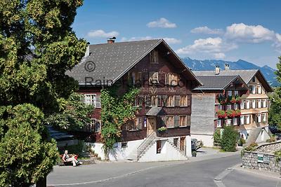 Austria, Vorarlberg, Schwarzenberg: village centre with listed (landmarked) buildings   Oesterreich, Vorarlberg, Schwarzenberg: Ortskern mit denkmalgeschuetzten Haeusern
