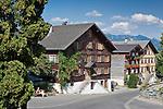 Austria, Vorarlberg, Schwarzenberg: village centre with listed (landmarked) buildings | Oesterreich, Vorarlberg, Schwarzenberg: Ortskern mit denkmalgeschuetzten Haeusern