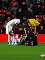 Saturday 10 November 2012<br /> Pictured: Ki Sung Yueng of Swansea injured on the ground<br /> Re: Barclay's Premier League, Southampton FC v Swansea City FC at St Mary's Stadium, Southampton, UK.