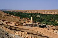Buildings surrounding an oasis, Boumalne Dades, Morocco.