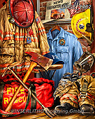 Dona Gelsinger, MASCULIN, MÄNNLICH, MASCULINO, paintings+++++,USGE1402,#m#, EVERYDAY,firemen,fireman,tools