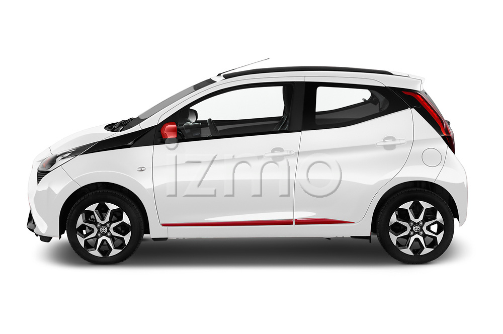 Car driver side profile view of a 2019 Toyota Aygo x-style 5 Door Hatchback