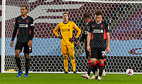 4th October 2020, Villa Park, Birmingham, England;  Liverpool s goalkeeper Adrian looks at his defense dejected during the English Premier League match between Aston Villa and Liverpool at Villa Park