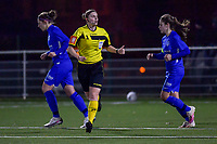 referee Viki De Cremer pictured during a female soccer game between  Racing Genk Ladies and Standard Femina on the 13 th matchday of the 2020 - 2021 season of Belgian Scooore Womens Super League , friday 5 th of february 2021  in Genk , Belgium . PHOTO SPORTPIX.BE | SPP | STIJN AUDOOREN