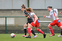 Justine Blave (22) of Eendracht Aalst with Laura Vervacke (20) of Zulte Waregem and Ulrike De Frere (7) of Zulte Waregem  pictured during a female soccer game between SV Zulte - Waregem and Eendracht Aalst on the 9 th matchday in play off 2 of the 2020 - 2021 season of Belgian Scooore Womens Super League , saturday 22 nd of May 2021  in Zulte , Belgium . PHOTO SPORTPIX.BE | SPP | DIRK VUYLSTEKE