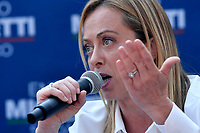 The leader of Fratelli d Italia right party Giorgia Meloni attends an electoral campaign press conference for the mayoral election in Spinaceto, a peripheral neighborhood in the west of Rome on October 1st 2021. Photo Andrea Staccioli Insidefoto