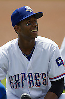 Round Rock Express shortstop Jurickson Profar #10 before the Pacific Coast League baseball game against New Orleans Zephyrs on April 21, 2013 at the Dell Diamond in Round Rock, Texas. Profar, the Texas Rangers top prospect, slugged a grand slam home run in the seventh inning leading Round Rock to a 7-1 win over New Orleans. (Andrew Woolley/Four Seam Images).