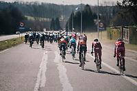 high speed peloton racing towards the Kanarieberg<br /> <br /> 70th Kuurne-Brussel-Kuurne 2018<br /> Kuurne › Kuurne: 200km (BELGIUM)